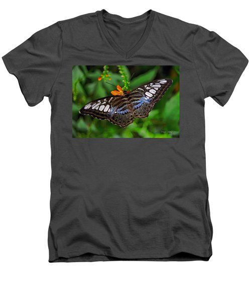Men's V-Neck T-Shirt featuring the photograph Tropical Butterfly by Marie Hicks