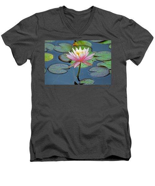 Tropical Pink Lily Men's V-Neck T-Shirt by Cynthia Guinn