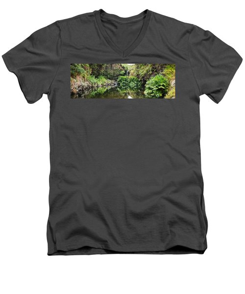 Tropical Reflections Men's V-Neck T-Shirt by Denise Bird