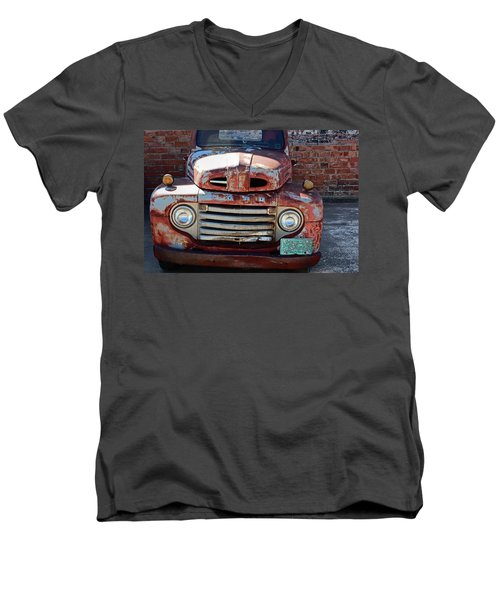 Men's V-Neck T-Shirt featuring the photograph Ford In Goodland by Lynn Sprowl
