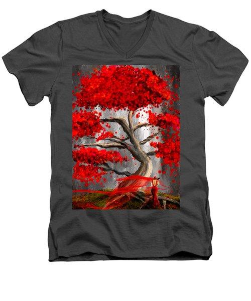 True Love Waits - Red And Gray Art Men's V-Neck T-Shirt