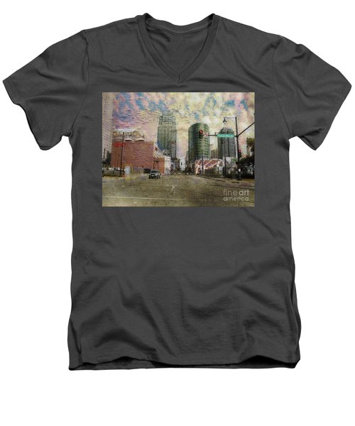 Men's V-Neck T-Shirt featuring the photograph Truman Road Kansas City Missouri by Liane Wright