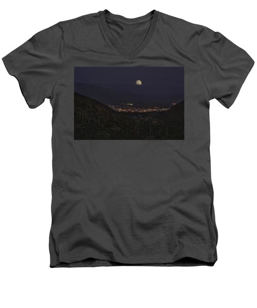 Men's V-Neck T-Shirt featuring the photograph Tucson At Dusk by Lynn Geoffroy