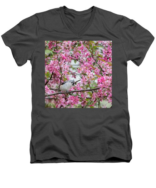 Tufted Titmouse In A Pear Tree Square Men's V-Neck T-Shirt by Bill Wakeley