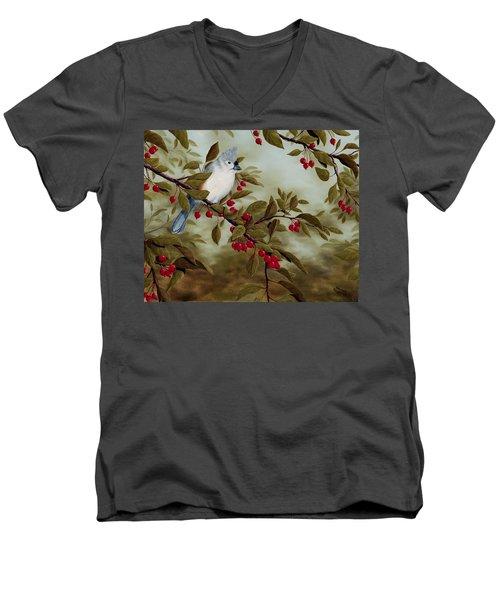 Tufted Titmouse Men's V-Neck T-Shirt by Rick Bainbridge