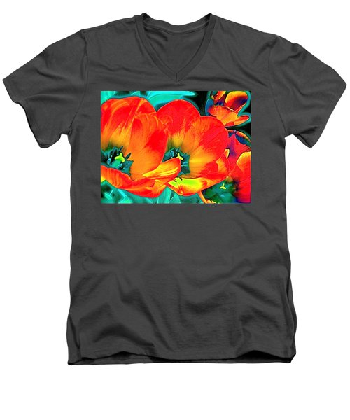 Men's V-Neck T-Shirt featuring the photograph Tulip 1 by Pamela Cooper