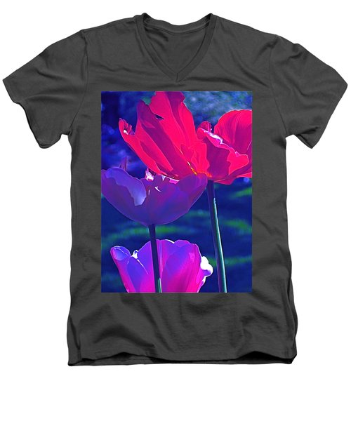 Men's V-Neck T-Shirt featuring the photograph Tulip 3 by Pamela Cooper