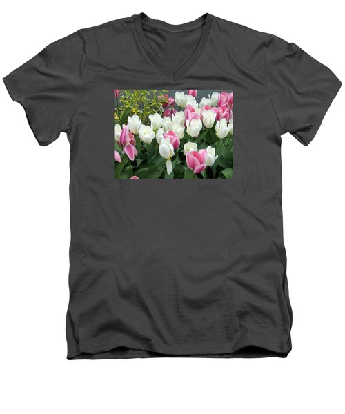 Purple And White Tulips Men's V-Neck T-Shirt by Catherine Gagne