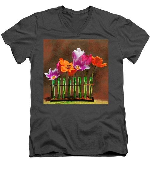 Tulip Experiments Men's V-Neck T-Shirt by Jeff Burgess