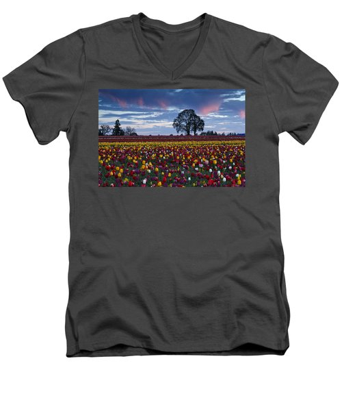 Tulip Field's Last Colors Men's V-Neck T-Shirt by Wes and Dotty Weber