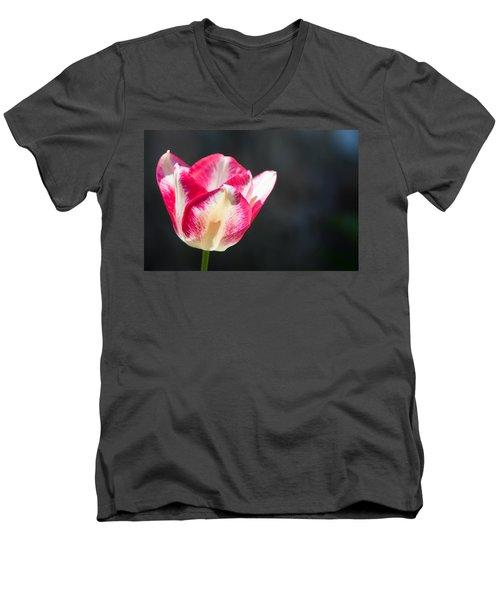 Tulip On Black Men's V-Neck T-Shirt by Photographic Arts And Design Studio