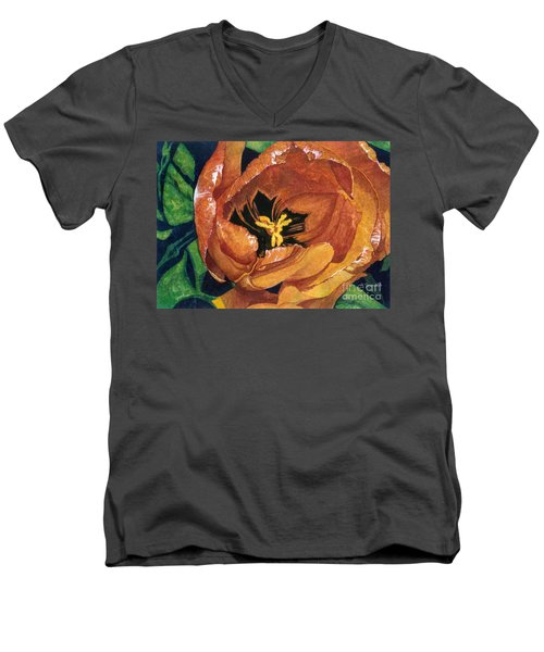 Men's V-Neck T-Shirt featuring the painting Tulip Swirl by Barbara Jewell