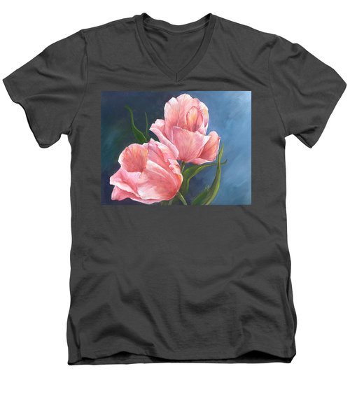 Men's V-Neck T-Shirt featuring the painting Tulip Waltz by Sherry Shipley