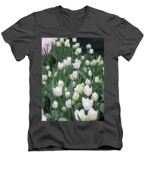 Men's V-Neck T-Shirt featuring the photograph Tulip White Show Flower Butterfly Garden by Navin Joshi