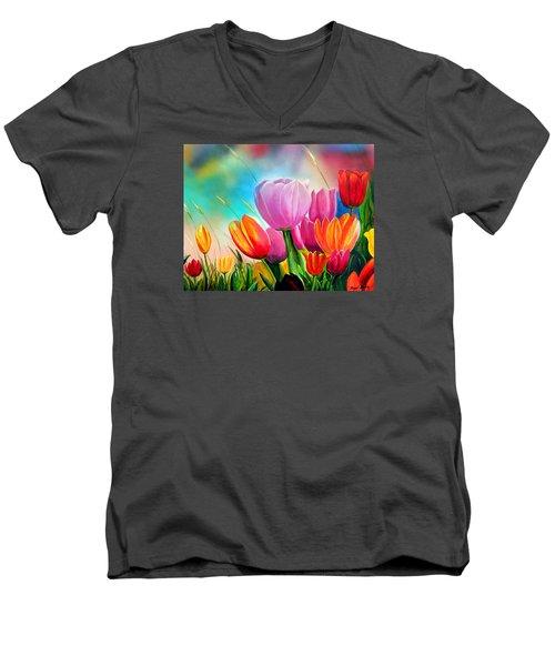 Tulipa Festivity Men's V-Neck T-Shirt by Angel Ortiz
