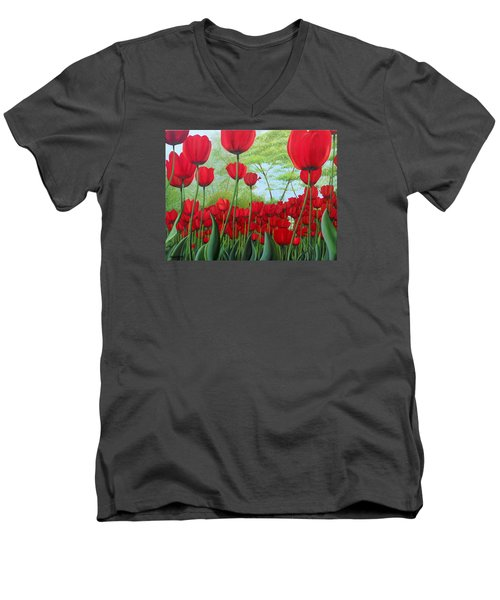 Tulipanes  Men's V-Neck T-Shirt by Angel Ortiz