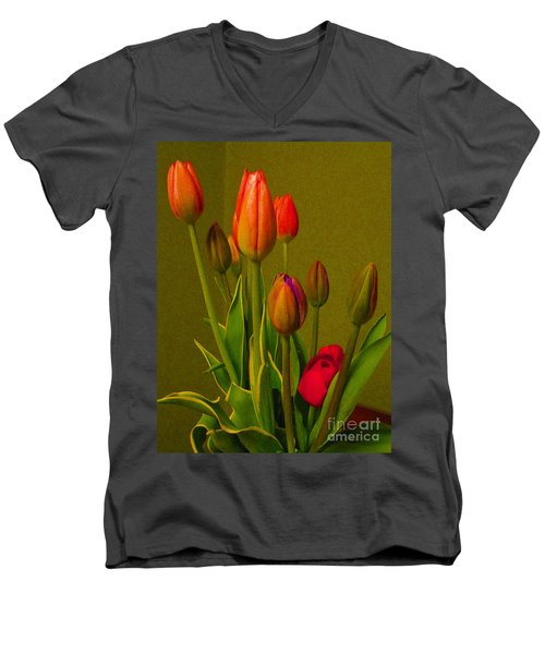 Tulips Against Green Men's V-Neck T-Shirt