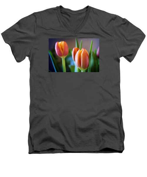 Tulips Artistry Men's V-Neck T-Shirt by Milena Ilieva