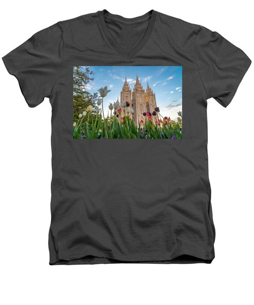 Tulips At The Temple Men's V-Neck T-Shirt