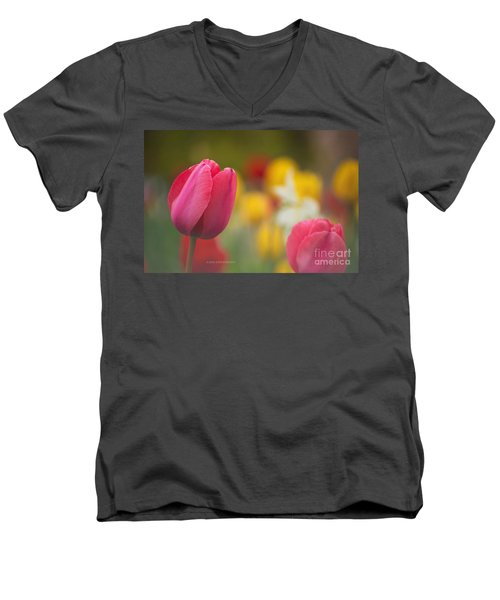 Men's V-Neck T-Shirt featuring the photograph Tulips Blooming by Rima Biswas