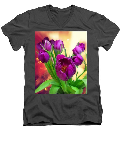 Tulips Men's V-Neck T-Shirt by Carlos Avila