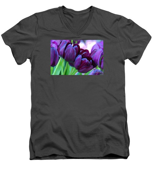 Tulips-dark-purple Men's V-Neck T-Shirt by Tim Gilliland