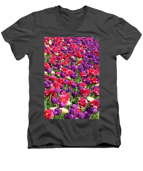 Tulips In A Meadow Men's V-Neck T-Shirt