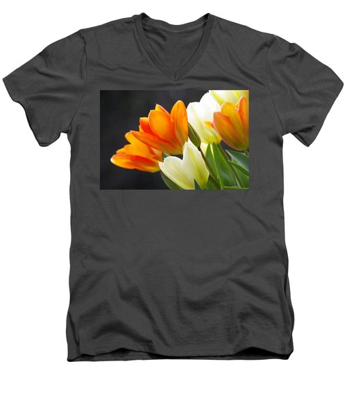 Men's V-Neck T-Shirt featuring the photograph Tulips by Marilyn Wilson