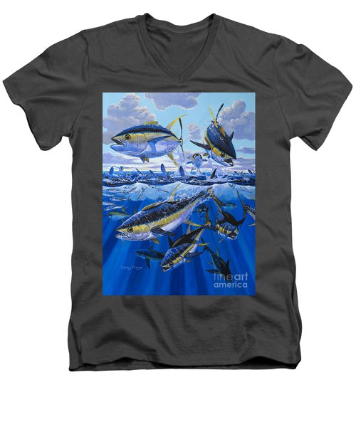 Tuna Rampage Off0018 Men's V-Neck T-Shirt by Carey Chen