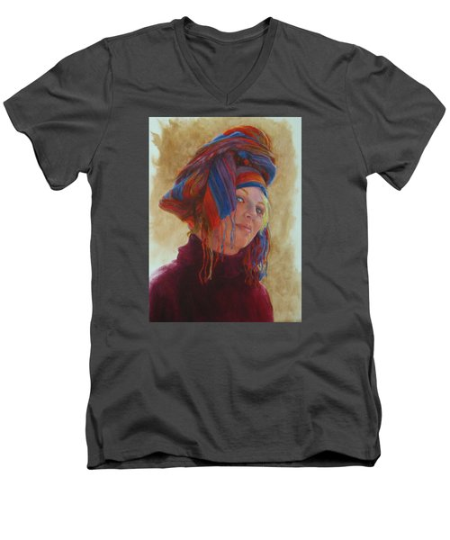 Turban 2 Men's V-Neck T-Shirt by Connie Schaertl