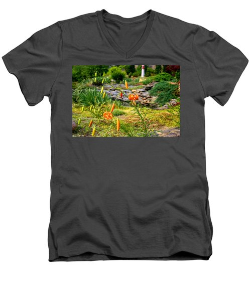 Men's V-Neck T-Shirt featuring the photograph Turk's Cap Lily by Kathryn Meyer
