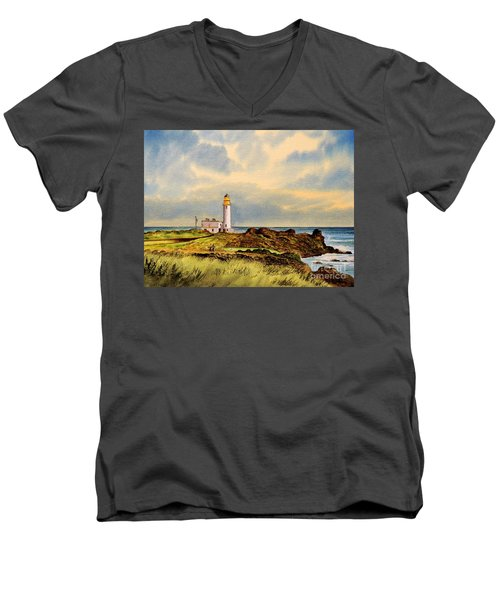 Turnberry Golf Course 9th Tee Men's V-Neck T-Shirt by Bill Holkham