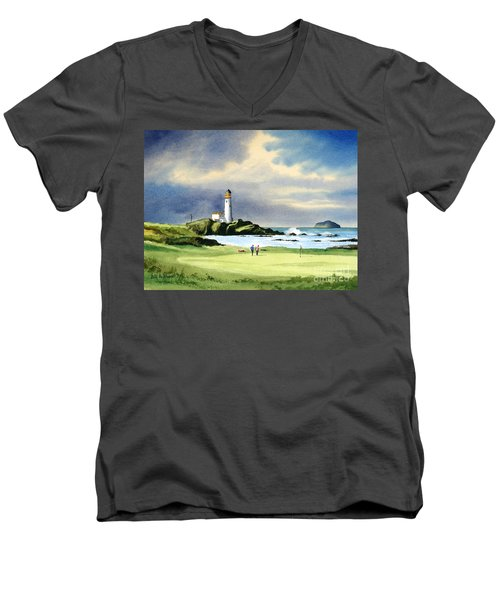 Men's V-Neck T-Shirt featuring the painting Turnberry Golf Course Scotland 10th Green by Bill Holkham