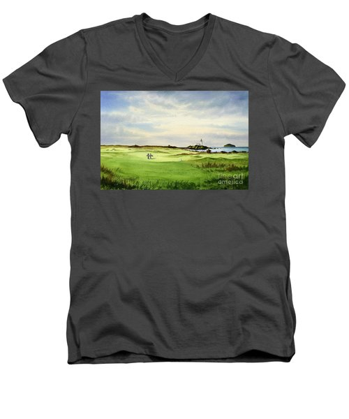 Men's V-Neck T-Shirt featuring the painting Turnberry Golf Course Scotland 12th Tee by Bill Holkham