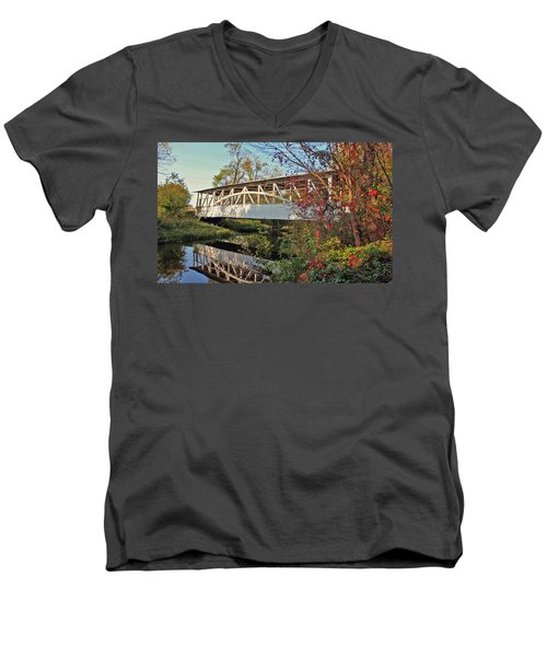 Men's V-Neck T-Shirt featuring the photograph Turner's Covered Bridge by Suzanne Stout