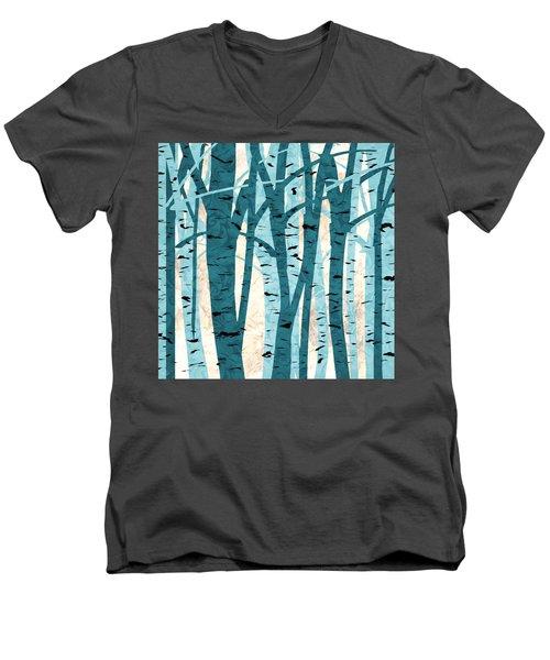 Turquoise Birch Trees Men's V-Neck T-Shirt