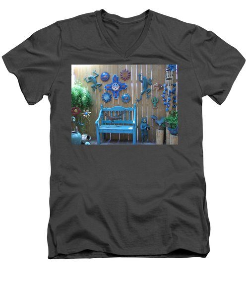 Men's V-Neck T-Shirt featuring the photograph Turquoise Corner by Dora Sofia Caputo Photographic Art and Design