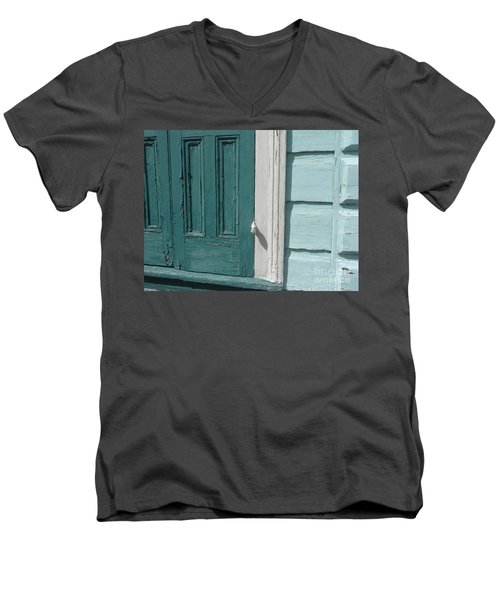 Men's V-Neck T-Shirt featuring the photograph Turquoise Door by Valerie Reeves