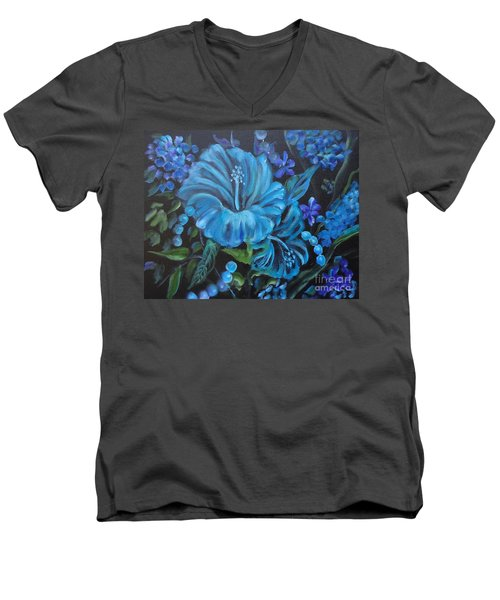 Turquoise Hibiscus Men's V-Neck T-Shirt by Jenny Lee