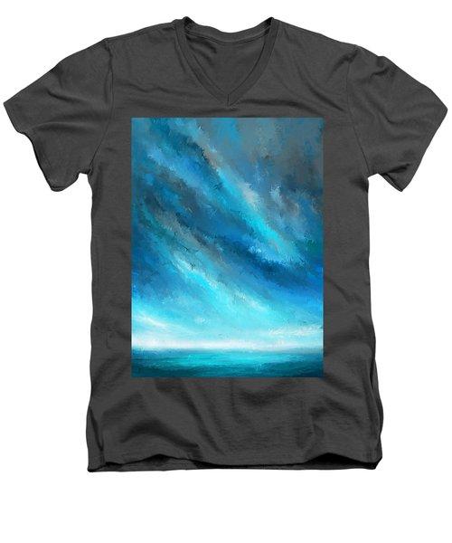 Turquoise Memories - Turquoise Abstract Art Men's V-Neck T-Shirt