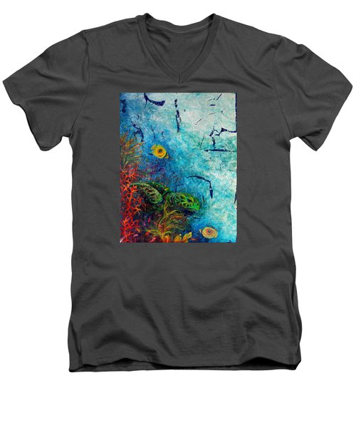 Turtle Wall 1 Men's V-Neck T-Shirt by Ashley Kujan