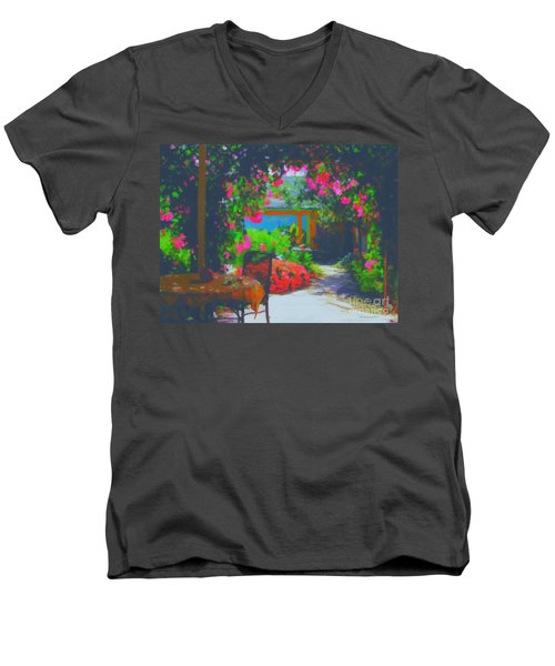 Men's V-Neck T-Shirt featuring the painting Tuscan Courtyard by Tim Gilliland