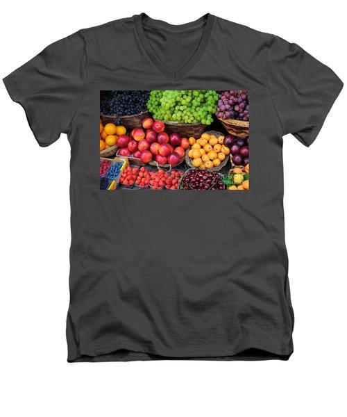 Tuscan Fruit Men's V-Neck T-Shirt by Inge Johnsson
