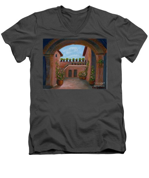 Men's V-Neck T-Shirt featuring the painting Tuscany Arch by Becky Lupe