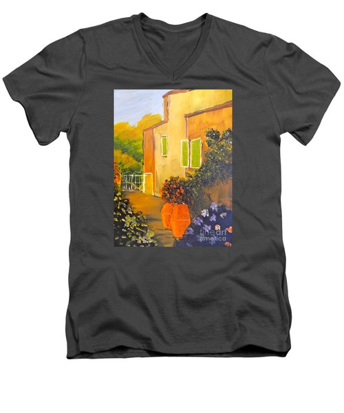 Men's V-Neck T-Shirt featuring the painting Tuscany Courtyard by Pamela  Meredith