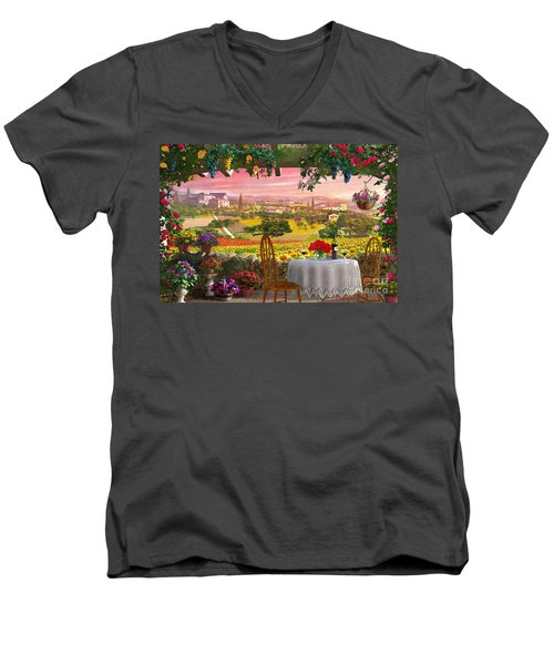 Tuscany Hills Men's V-Neck T-Shirt by Dominic Davison