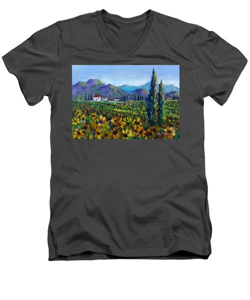 Men's V-Neck T-Shirt featuring the painting Tuscany Sunflowers Miniature by Lou Ann Bagnall