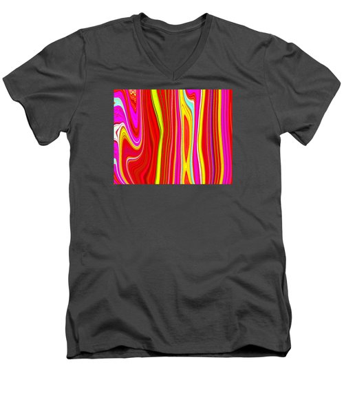 Men's V-Neck T-Shirt featuring the painting Twiggy Stripes C2014 by Paul Ashby