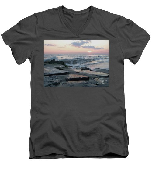 Twilight At Cape May In October Men's V-Neck T-Shirt by Eric  Schiabor