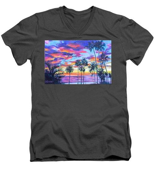 Twilight Palms Men's V-Neck T-Shirt by Bonnie Lambert